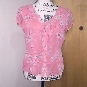 Ann Taylor LOFT silk flowered blouse